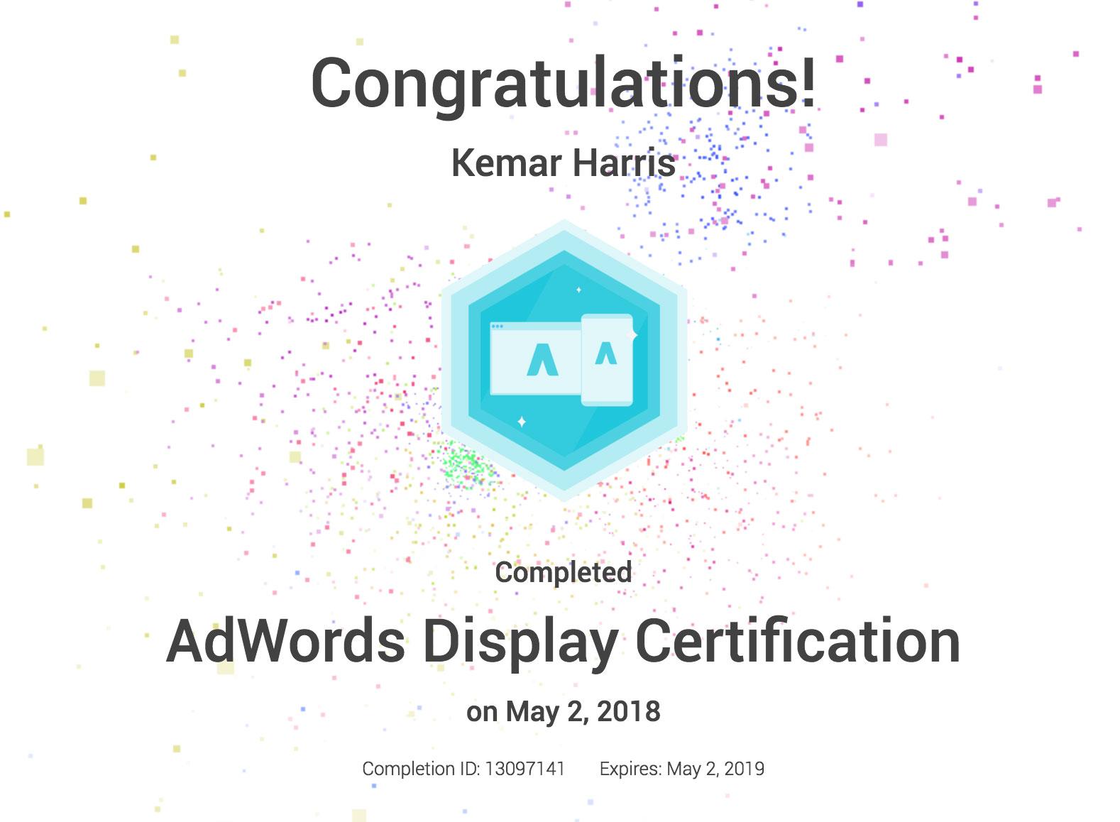 Google Adwords Certification Kemar Harris